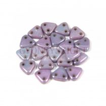CzechMates 2 Hole Triangle Czech Glass Bead - Alabaster Purple -6mm
