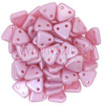 Cseh kétlyukú háromszög gyöngy -  Inocent Pink -6mm