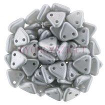 Cseh kétlyukú háromszög gyöngy -  Metallic Polichrome Silver -6mm