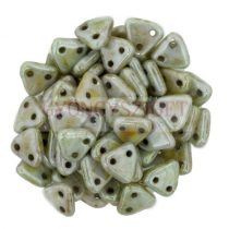 CzechMates 2 Hole Triangle Czech Glass Bead - Opaque Green Luster  -6mm