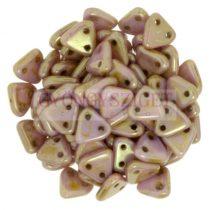 Cseh kétlyukú háromszög gyöngy - Opaque Pink Luster  -6mm