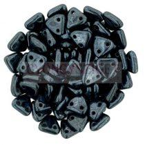 Cseh kétlyukú háromszög gyöngy - Hematit -6mm