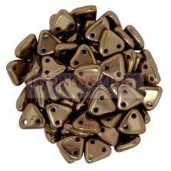 Cseh kétlyukú háromszög gyöngy - Dark Bronze -6mm