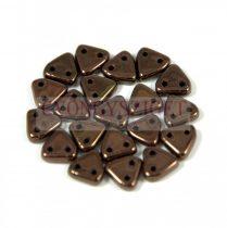 Cseh kétlyukú háromszög gyöngy - Purple Bronze -6mm