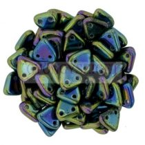 Cseh kétlyukú háromszög gyöngy - Green Iris -6mm