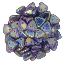 Cseh kétlyukú háromszög gyöngy -  Jet Purple Iris - 6mm