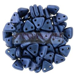 Cseh kétlyukú háromszög gyöngy - Matt Metallic Blue -6mm