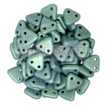 Cseh kétlyukú háromszög gyöngy - Matt Metallic Light Green -6mm
