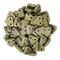 Cseh kétlyukú háromszög gyöngy - Matt Metallic Clay -6mm