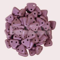 CzechMates 2 Hole Triangle Czech Glass Bead - matte metallic purple - 6mm