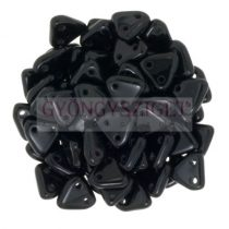 CzechMates 2 Hole Triangle Czech Glass Bead - Telt fekete -6mm