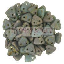 Cseh kétlyukú háromszög gyöngy - Opaque Turquoise Copper Picasso -6mm
