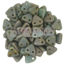 CzechMates 2 Hole Triangle Czech Glass Bead - turquoise copper picasso - 6mm