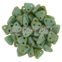 Cseh kétlyukú háromszög gyöngy - Turquoise Green Picasso -6mm