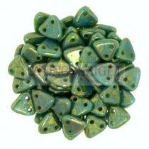 Cseh kétlyukú háromszög gyöngy - Turquoise - Bronze Picasso -6mm