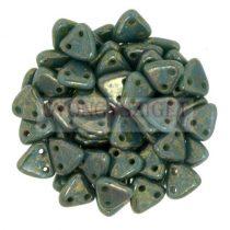 Cseh kétlyukú háromszög gyöngy - Persian Turquoise - Bronze Picasso -6mm