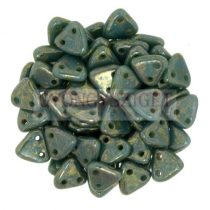 CzechMates 2 Hole Triangle Czech Glass Bead - Persian Turquoise - Bronze Picasso - 6mm