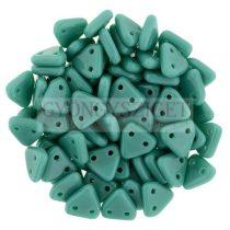 Cseh kétlyukú háromszög gyöngy - Opaque Turquoise Green -6mm