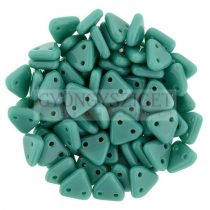 CzechMates 2 Hole Triangle Czech Glass Bead - green turquoise - 6mm