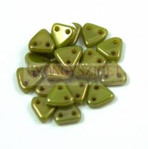 Cseh kétlyukú háromszög gyöngy - Green Bronze -6mm