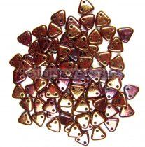 Cseh kétlyukú háromszög gyöngy - Bronze Luster Red Wine Iris - 6mm