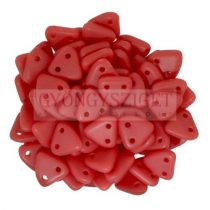 Cseh kétlyukú háromszög gyöngy - Matt Opaque Red -6mm