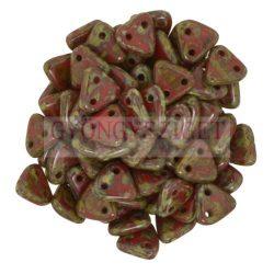 Cseh kétlyukú háromszög gyöngy - Opaque Dark Red Picasso - 6mm