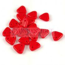 Cseh kétlyukú háromszög gyöngy - Opaque Red - 6mm
