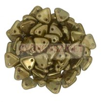 Cseh kétlyukú háromszög gyöngy - Olivin Patina -6mm