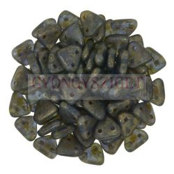 Cseh kétlyukú háromszög gyöngy - Tanzanite-Copper Picasso -6mm