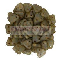 Cseh kétlyukú háromszög gyöngy - Aqua Copper Picasso -6mm