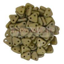 Cseh kétlyukú háromszög gyöngy - Opaque Olive Copper Picasso -6mm