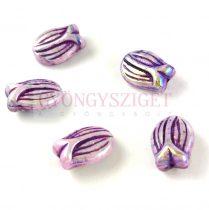 Cseh üveg gyöngy - hosszában fúrt tulipán alakú - Light Purple Violet AB - 16x11mm