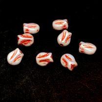 Cseh üveg gyöngy - hosszában fúrt tulipán alakú - Alabaster AB Copper - 9x7mm
