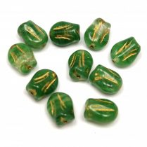 Cseh üveg gyöngy - hosszában fúrt tulipán alakú - Avocado Crystal Blend Gold - 9x7mm