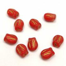 Cseh üveg gyöngy - hosszában fúrt tulipán alakú - Red Matt Gold - 9x7mm