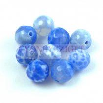 Tűz achát gyöngy - kék - 8mm