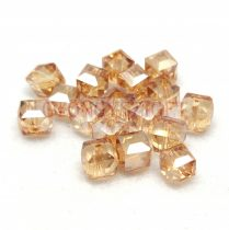 Kocka alakú üveg gyöngy - Light Colorado Topaz Luster - 6mm