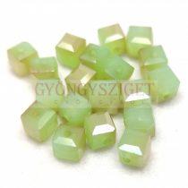 Kocka alakú üveg gyöngy - Chrysolite Opal Gray Luster - 6mm