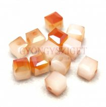 Kocka alakú üveg gyöngy - Alabaster Opal Bronz Luster - 6mm