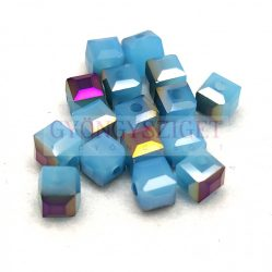 Kocka alakú üveg gyöngy - Aqua Opal Iris Luster - 6mm