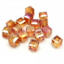Kocka alakú üveg gyöngy - Brandy Iris Luster - 6mm