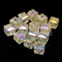 Kocka alakú üveg gyöngy - Champagne Iris Luster - 6mm