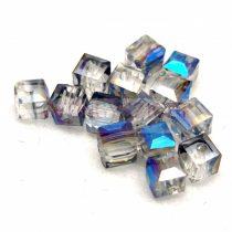 Kocka alakú üveg gyöngy - Black Diamond Blue Iris Luster - 6mm