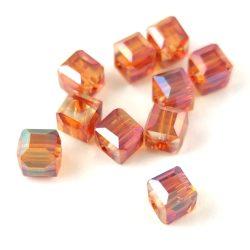 Kocka alakú üveg gyöngy - Crystal Green Iris Luster - 6mm