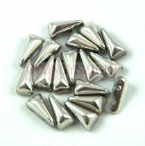 Vexolo cseh préselt 2lyukú gyöngy - Crystal Silver - 5x8mm