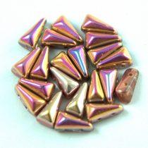 Vexolo cseh préselt 2lyukú gyöngy - Crystal Rainbow Metallic Peach - 5x8mm