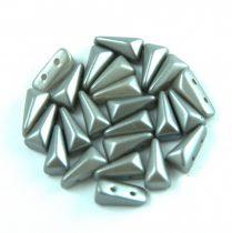 Vexolo cseh préselt 2lyukú gyöngy - Pastel Silver - 5x8mm
