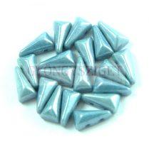 Vexolo cseh préselt 2lyukú gyöngy – White Blue Luster - 5x8mm