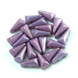 Vexolo cseh préselt 2lyukú gyöngy – White Purple Vega Luster – 5x8mm